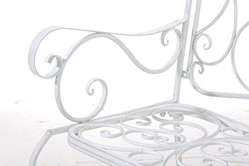 klassische Metallgartenbank in antik Weiß, eine romantische Ruhebank für den Park im Landhausstil mit Nostalgie Elementen für 2 Personen – pflegeleichte Sitzbank aus Eisen B106cm - 6