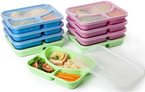 Life Story Bento To Go Fiambreras con 3 Compartimientos, Porta Alimentos, Apto Para Microondas, Sin BPA, Fiambrera Infantil, Fiambrera para el Trabajo - 9pcs