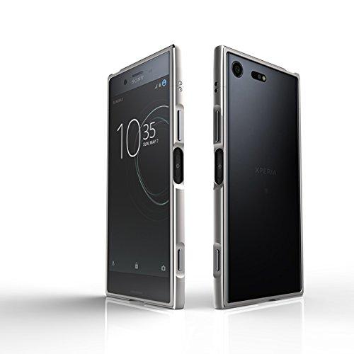 Sony Xperia XZ Premium Hülle Aluminium Rahmen Bumper Handytasche für Sony Xperia XZ Premium, Silber
