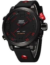 Eyotto pour homme Sports montre bracelet LED étanche militaire numérique montre analogique pour randonnée, course à pied, l'escalade, Red
