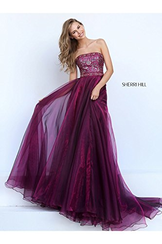 sherri-hill-magenta-50779-strapless-gown-with-organza-skirt-uk-10-us-6