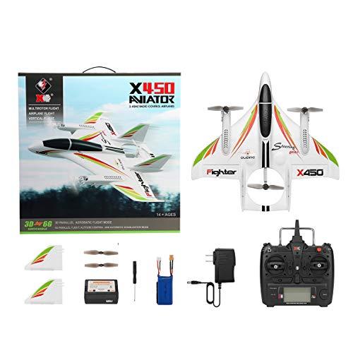 XK X450 3D Avion acrobatique RC 6 canaux télécommande décollage Vertical atterrissage Avion à voilure Fixe hélicoptère Jouets Drone (Blanc) (Togames)