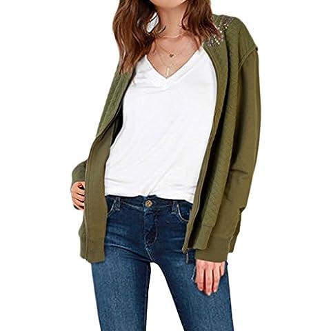 Minetom Donna Zipper Blazer Jacke Retro Giacche Blouson Girocollo Camicetta Slim Coat