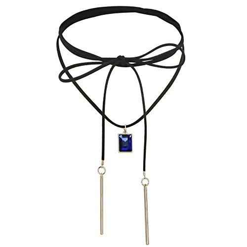 Adisaer Velvet Spitze Choker Halskette Damen Gold Blau Kristall Rechteck Schleife Tattoo Kette Länge 151.7CM Einstellbar Halsketten Vintage