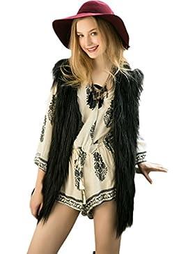 FEITONG mujeres Sin mangas chaleco largo prendas de vestir exteriores del escudo Chaqueta de pelo largo 5 colores