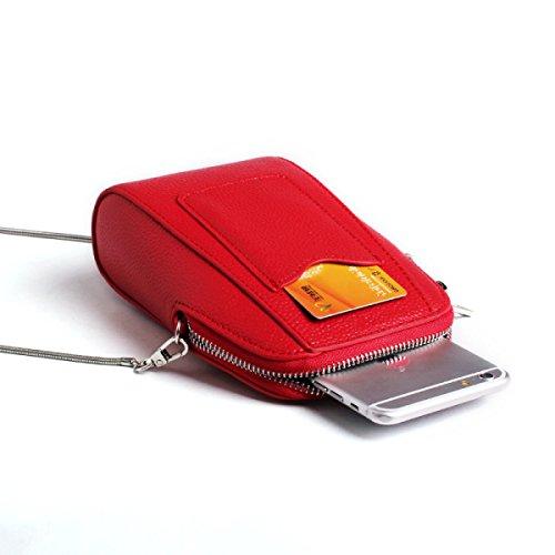 Moda Borse In Pelle Sacchetto Del Telefono Mobile Nuova Catena Pelle Bovina Borsa Della Borsa Del Portafoglio Red
