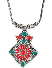 Sansar India Red Green Geometric Oxidised Silver Square Chain Pendant Necklace For Women And Girls