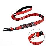 Louvra Hundeleine Reflektierend Führleine Hund Verstellbar mit Weich-Griff und Auto-Sicherheitsschnalle Bungee Leine aus Nylon (Schwarz/Rot/Orange/Blau)