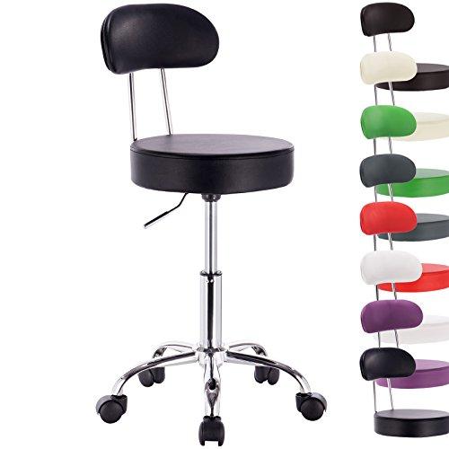 WOLTU® 1 Stück Arbeitshocker Drehhocker Rollhocker Drehstuhl Hokcer Bürostuhl mit Lehne höhenverstellbar Schwarz BH34sz-1