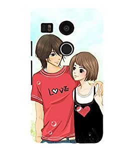 Love Couple 3D Hard Polycarbonate Designer Back Case Cover for LG Nexus 5X :: LG Google Nexus 5X New