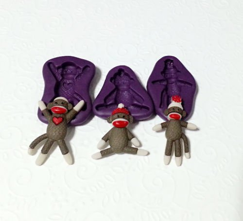 Silicone Sock Monkey Mould Set (28-35mm) Fondant Clay Chocolate Soap Sugarcraft by Simply Molds