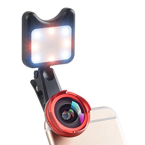 MIAO LAB 4 in 1 Kamera Objektiv Kit 120 Grad Weitwinkelobjektiv + 10X Makro Len + Kaleidoskop Linse + LED Taschenlampe Clip-on Telefon Keine Verzerrung für iPhone 7 / 6s Samsung S8 Android Smartphone