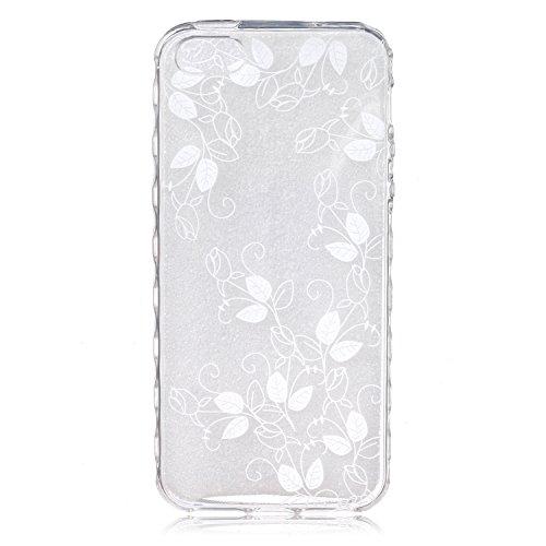 iPhone 5C Coque Silicone,iPhone 5C Coque Transparente,Coque Housse pour iPhone 5C,iPhone 5C Souple Coque Etui en Silicone,EMAXELERS iPhone 5C Coque Silicone Etui Housse,iPhone 5C Coque blanc Fleur Mod B Animal TPU 11