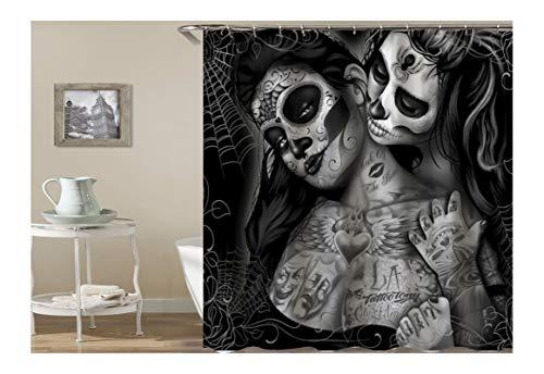 KnSam Duschvorhang Anti-Schimmel Wasserdicht Vorhänge an Badewanne Bad Vorhang für Badezimmer Gothic Totenkopf Tattoo Frauen 100% PEVA inkl. 12 Duschvorhangringen 165 x 180 cm
