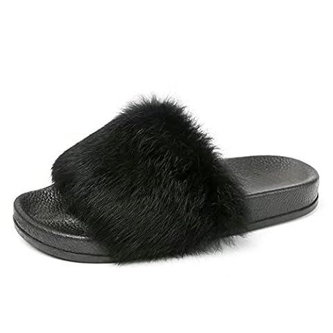 TAOtTAO Women Fluffy Faux Fur Flat Slipper Casual Non-slip Soft Flip Flop Sandal Sports and Outdoor Sliders Bath Beach Pool Shoes (39, black)