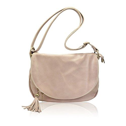 OLGA Sac à bandoulière, sacs portés épaule à fermeture à glissière avec deux compartiments, cuir de vachette, fabriqué en Italie rougir rose
