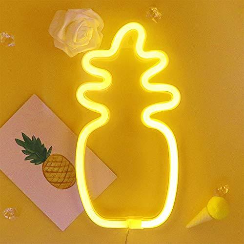 ENUOLI Ananas warmes Weiß Neonlicht Ananas Nacht Dekor Ananas Licht-Batterie oder USB-Powered-Nachtlicht-Ausgangsdekor Ideal für Schlafzimmer Wohnzimmer Lounge Büro Hochzeit Weihnachten Geburtstags-P