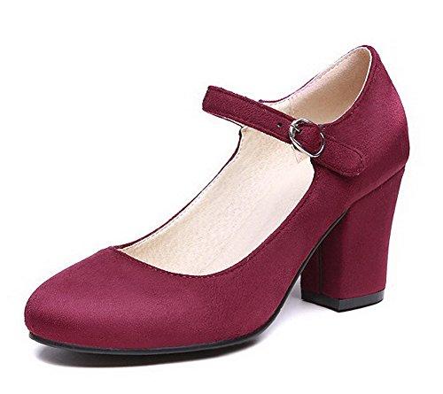 VogueZone009 Femme Dépolissement Rond à Talon Haut Boucle Chaussures Légeres Rouge Vineux