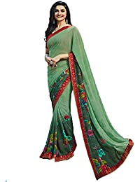 de11447dbf Vagheshwari Emporium Women's Georgette Print Embroidered Party wear Saree  with Unstitched Blouse-(Green Color