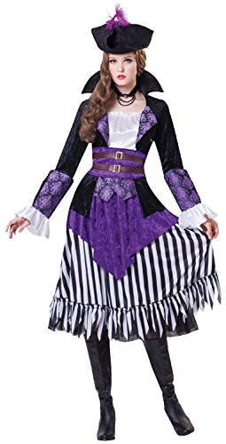 Ladies 4 Piece Pirate Queen Buccaneer Halloween Carnival World Book Day Week TV Film Fancy Dress Costume Outfit UK Size 10-14