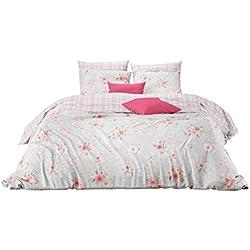 Aminata Kids - Wende-Bettwäsche-Set 155-x-220 cm Rose-n-Motiv Blume-n-Muster Karo kariert 100-% Baumwolle Renforce hell-rosa hell-blau