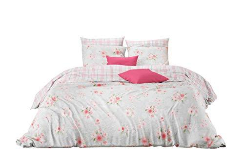 Landhaus-stil Bettwäsche (Aminata Kids Wende-Bettwäsche-Set Rosen, romantisch | 135-x-200-cm | 100-% Baumwolle | Vintage-Bettwäsche Landhaus-Stil | rosa, hell-blau | Damen, Frauen | Marken-Reißverschluss & Öko-Tex)