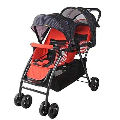 STRR Cochecito Doble, Gemelo tándem Cochecito de bebé, 3 Puntos Cinturones de Seguridad, Diseño Plegable for facilitar su Transporte