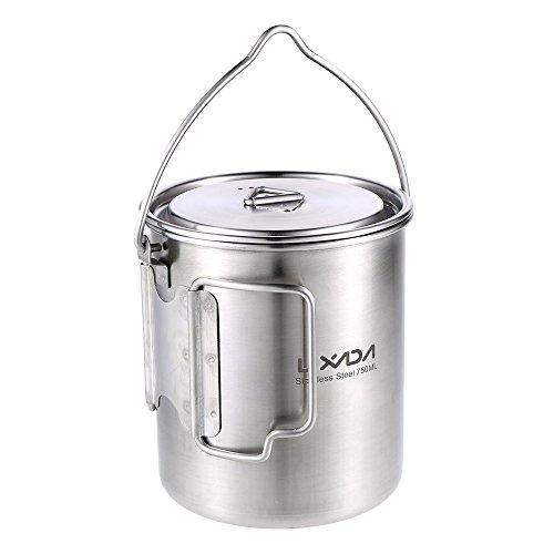 Lixada Edelstahl Wasser Tasse Becher 750ml mit faltbaren Griffe und Deckel/Camping Hängende Topf mit Dämpfen Gericht für Camping Wandern Kochen Picknick