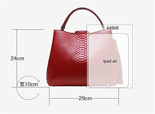 Xinmaoyuan borse Donna Autunno e Inverno modello coccodrillo strato di pelle Borsa da donna di grande capacità spalla portatile borsa messenger,grigio Rosso