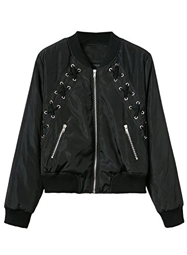 Futurino Damen Vorne Zip Up BF Bomber Jacke Outwear Schwarz