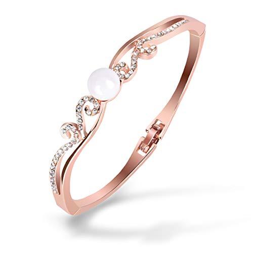 X-Mile Rose Gold Diamant Armband Damen Armreifen Mit Glossy Pearl Crown Shape Anti Allergie für Handgelenk Körper Dekorations Party Abendessen Frauen 6x5cm - Glossy Rose