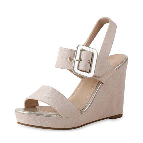SCARPE VITA Damen Sandaletten Keilsandaletten Metallic Plateau Vorne Schuhe 159682 Creme 39