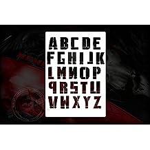 Destroyed Alfabeto Letras letras Plantilla Stencil