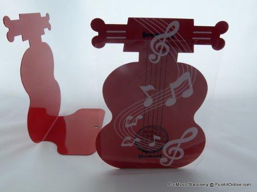 FunMusic Buchstütze - Ein Paar rote Cello Form Metall Buchständer