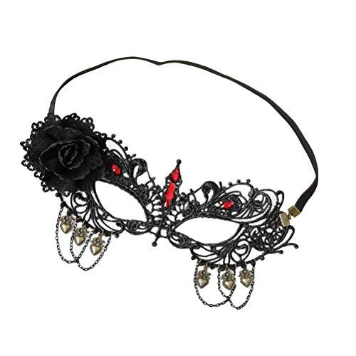 HEALIFTY Schwarze Sexy Lady Lace Maske mit Strass Floral Einstellbare Ausschnitt Augenmaske für Maskerade Party Kostüm Halloween