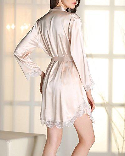 Femme Ensemble 2 Pièces Kimono Robe de Chambre avec Ceinture Chemise de Nuit en Satin Nuisette Lingerie Imitant Pyjama Champagne
