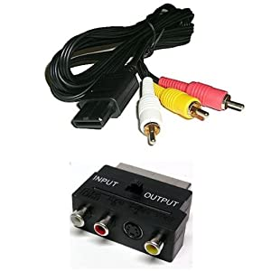 AV TV Fernsehkabel + Scart Adapter für Super Nintendo SNES Konsole 3 Chinch Audio Video Scart Kabel für Super NES / N64 Nintendo 64 und GC Game Cube Konsolen Bildkabel Tonkabel