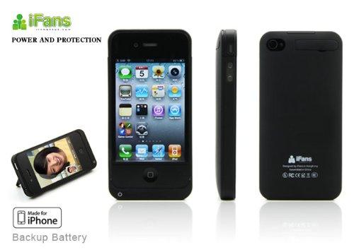 iFans - Custodia Case Cover Slim Batteria Esterna Carica Aggiuntiva iPhone 4/4S Nera