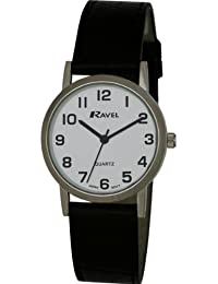 Ravel Large Case Fashion on PU Strap Men's Quartz Watch with White Dial Analogue Display and Black Plastic Strap R0102.02.1