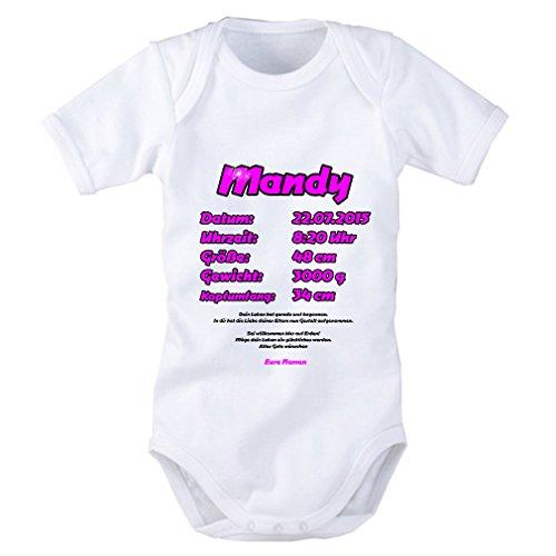 Baby Body als Geschenkidee in pink für Mädchen:Name, Datum, Uhrzeit, Größe, Gewicht, Kopfumfang Alle Daten individuell einsetzbar. Geschenk zur Geburt, Pullerparty