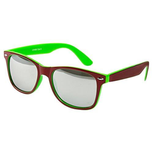 Ciffre Sonnenbrille Nerdbrille Nerd Retro Look Brille Pilotenbrille Vintage Look - ca. 80 verschiedene Modelle Rot Grün Farbverlauf