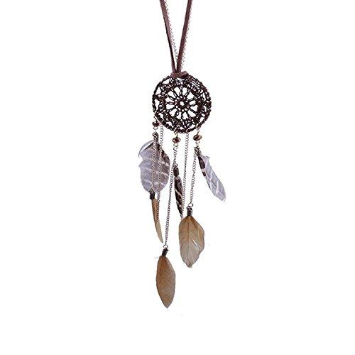 Sets Schmuck Indianer Kostüm (Flying Rabbit Dreamcatcher Feder Federn handgewebte Halskette long Pullover Kette für Frauen)