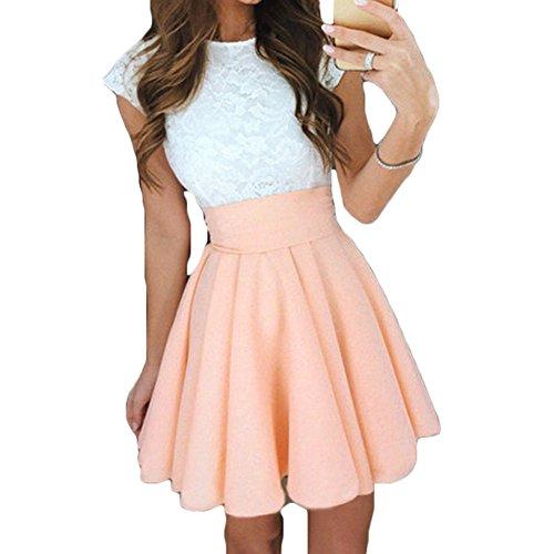 Hibote Damen Spitzenkleid - Elegant, Kurzarm, Skater Kleider für Frauen