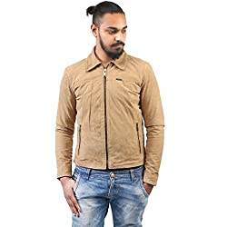 BARESKIN Mens Beige color Suede Leather Jacket