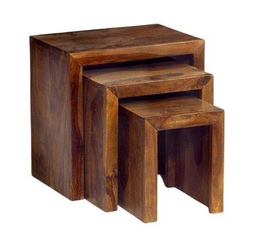Cube Sheesham Hardwood Nest Of 3 Tables