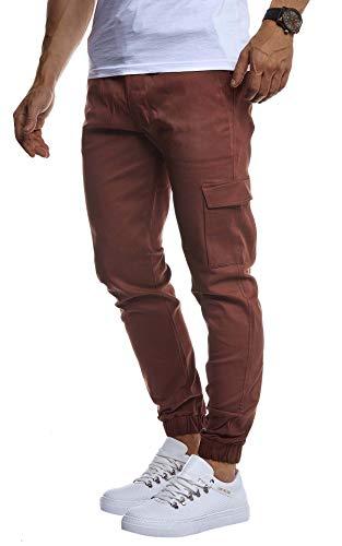 LEIF NELSON Herren Jogger Chinos Cargo Stretch Jogging | Männer Basic Jogg Cargohose Streifen Jogginghose | Jungen Freizeithose Jeans-Hosen Sweatpants Streifen Chinohosen | LN8071 D.Braun X-Large