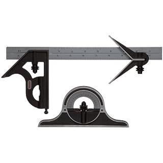 Starrett C9–12–4R Kombination-Set, mit Köpfen aus Gusseisen, Zentrierung, Quadratische und Winkelmesser Köpfen, schwarzes Schrumpf-Finish, Satin- Chrom-Klinge, 30,5cm, 4r-Grad