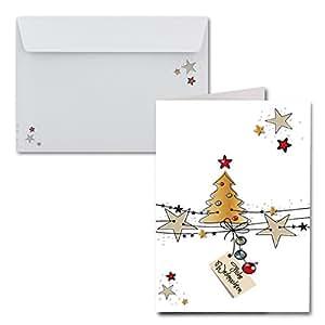 15x weihnachtskarten din a6 wei e weihnachten mit brief. Black Bedroom Furniture Sets. Home Design Ideas