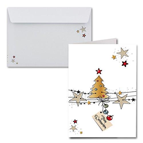 15x Weihnachtskarten DIN A6 - Weiße Weihnachten|mit Brief-Umschlägen DIN C6| Farbe: Weiß | Weihnachtliches Motiv + Frohe Weihnachten für Ihre Weihnachtsgrüße |Marke: Gustav NEUSER®