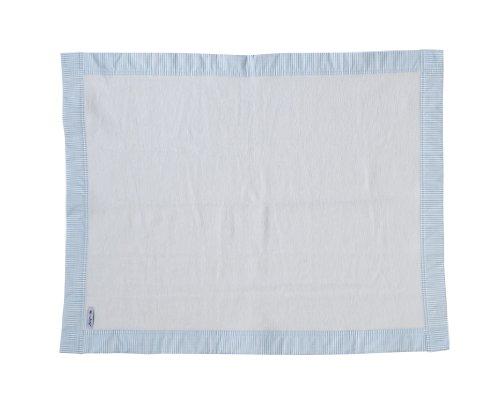 Luxus Schmusedecke aus 100% Baumwolle ausgestattet mit Zierrand im Streifendesign, blau, 120x150cm